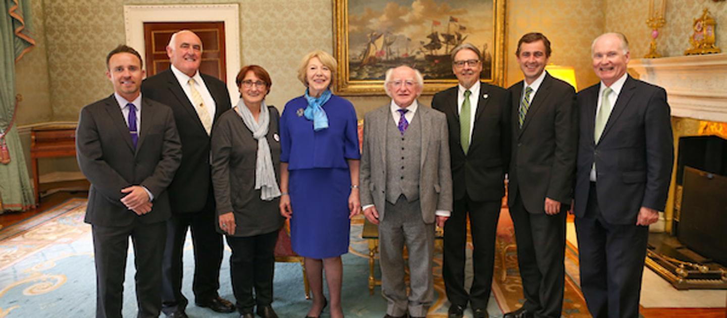 AIA Co-Chair Íde B. O'Carroll with President Michael and Sabina Higgins
